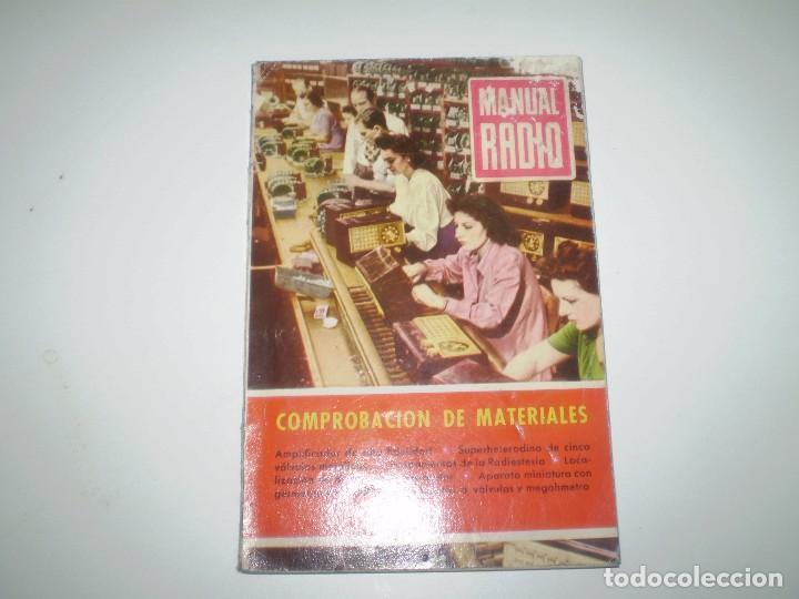 MANUAL DE RADIO-COMPROBACION DE MATERIALES. (Radios, Gramófonos, Grabadoras y Otros - Catálogos, Publicidad y Libros de Radio)