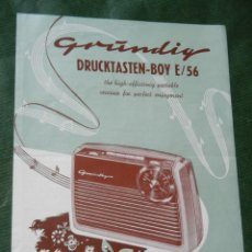 Radios antiguas: FOLLETO RADIO GRUNDIG DRUCKTASTEN-BOY E/56 - AÑOS 1950. Lote 95074143