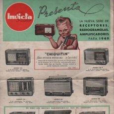 Radios antiguas: HOJA CATALOGO INVICTA RADIO - RECEPTORES RADIOGRAMOLAS AMPLIFICADORES PARA 1949 CHIQUITIN. Lote 96790315