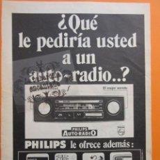 Radios antiguas: PUBLICIDAD 1972 - COLECCION ELECTRONICA - AUTO RADIO PHILIPS. Lote 97198055