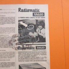 Radios antiguas: PUBLICIDAD 1967 - COLECCION ELECTRONICA - RADIOMATIC ANGLO . Lote 97198135