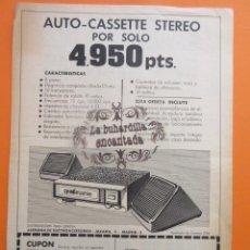 Radios antiguas: PUBLICIDAD 1972 - COLECCION ELECTRONICA - AUTOCASSETTE STEREO. Lote 97198223
