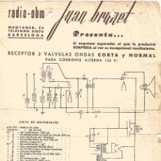 Radios antiguas: FOLLETO RADIO OHM JUAN BRUNET ESQUEMA RECEPTOR RADIO 3 VALVULAS ONDA CORTA Y NORMAL. Lote 97206167