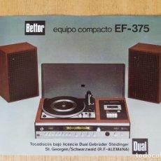 Radios antiguas - Publicidad Bettor equipo compacto EF-375 - 99073031