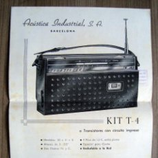 Radio antiche: ELECTRONICA. FOLLETO DIPTICO KIT MONTAJE TRANSISTOR ACUSTICA INDUSTRIAL, BARCELONA. Lote 99200407