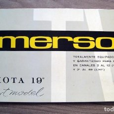 Radios antiguas: ELECTRONICA, FOLLETO GARANTIA Y INSTRUCCIONES TELEVISOR, TV EMERSON DACOTA - 1965. Lote 99468391