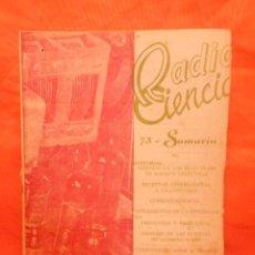Radios antiguas: REVISTA RADIO CIENCIA NUMERO 73 -1960 . Lote 101406759