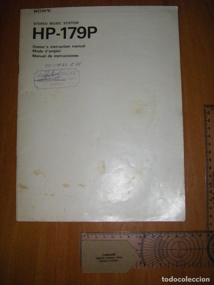 INSTRUCCIONES TOCADISCOS SONY HP-179 (Radios, Gramófonos, Grabadoras y Otros - Catálogos, Publicidad y Libros de Radio)