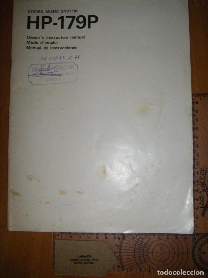 Radios antiguas: Instrucciones tocadiscos Sony HP-179 - Foto 2 - 103997883