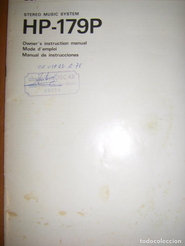 Radios antiguas: Instrucciones tocadiscos Sony HP-179 - Foto 3 - 103997883