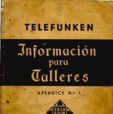 Radios antiguas: TELEFUNKEN IBERICA - INFOMACION PARA TALLERES + ANEXO EN CD ARCHIVOS PDF. Lote 177765519