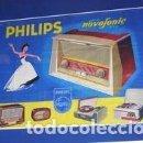 Radios antiguas: CARTEL PHILIPS NOVOFONIC CATÁLOGO DE RADIOS, ELVINGER PARIS. ORIGINAL DE 1959. Lote 111463339