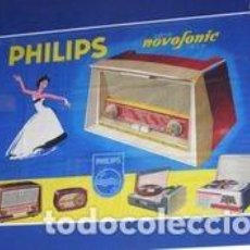 Radios antiguas: GRAN CARTEL PHILIPS NOVOFONIC PRESENTANDO RADIOS, ELVINGER PARIS. ORIGINAL DE 1959. Lote 111463339