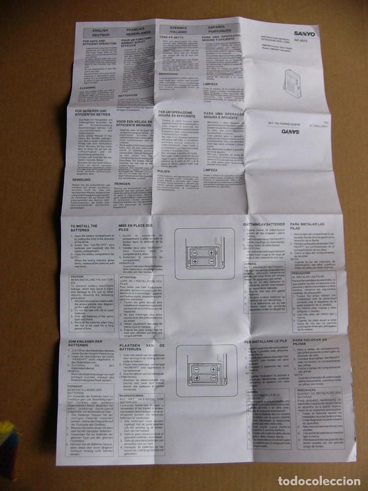 Radios antiguas: Manual de instrucciones y caja original Radio Sanyo RP-5070 RP 5070 - Foto 5 - 111805179