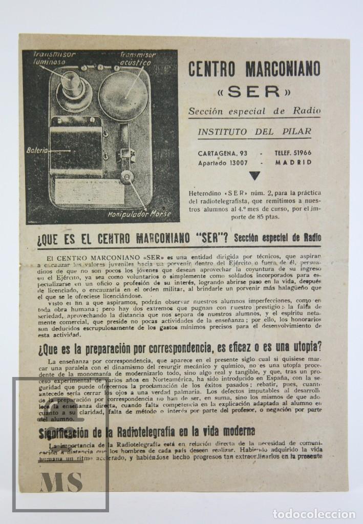 ANTIGUO DÍPTICO / FOLLETO PUBLICITARIO - CENTRO MARCONIANO SER / RADIO - INSTITUTO DEL PILAR,AÑOS 40 (Radios, Gramófonos, Grabadoras y Otros - Catálogos, Publicidad y Libros de Radio)