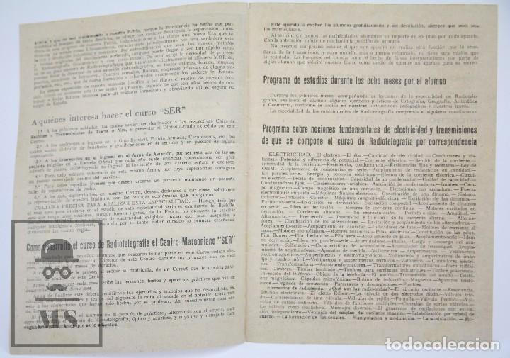 Radios antiguas: Antiguo Díptico / Folleto Publicitario - Centro Marconiano SER / Radio - Instituto del Pilar,Años 40 - Foto 2 - 111883491