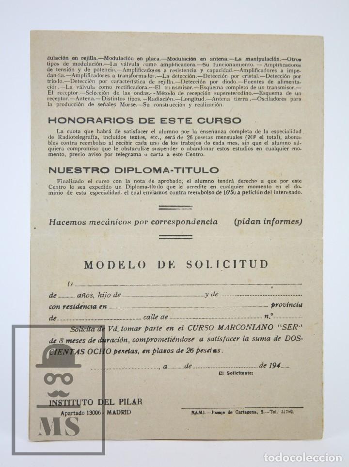 Radios antiguas: Antiguo Díptico / Folleto Publicitario - Centro Marconiano SER / Radio - Instituto del Pilar,Años 40 - Foto 3 - 111883491
