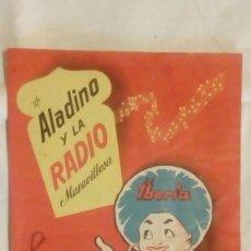 Radios antiguas: CATALOGO DESPLEGABLE DE RADIO Y RADIOGRAMOLA - ALADINO Y LA RADIO MARAVILLOSA IBERIA. Lote 117673311
