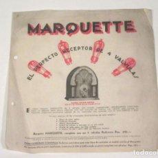 Rádios antigos: HOJA PUBLICIARIA DE RADIO MARQETTE.. Lote 118280131