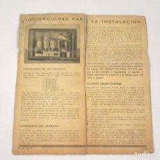 Radios antiguas: INSTRUCCIONES DE UNA RADIO PHILIPS. AÑOS 30.. Lote 118280731