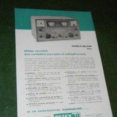 Radios antiguas: FOLLETO RETEXKIT - RECEPTORES HAMMARLUND HQ-110 Y HQ-110A. Lote 119550191