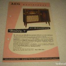 Radios antiguas: AEG UNIVOX T, PUBLICIDAD EN ALEMAN .. Lote 120689395