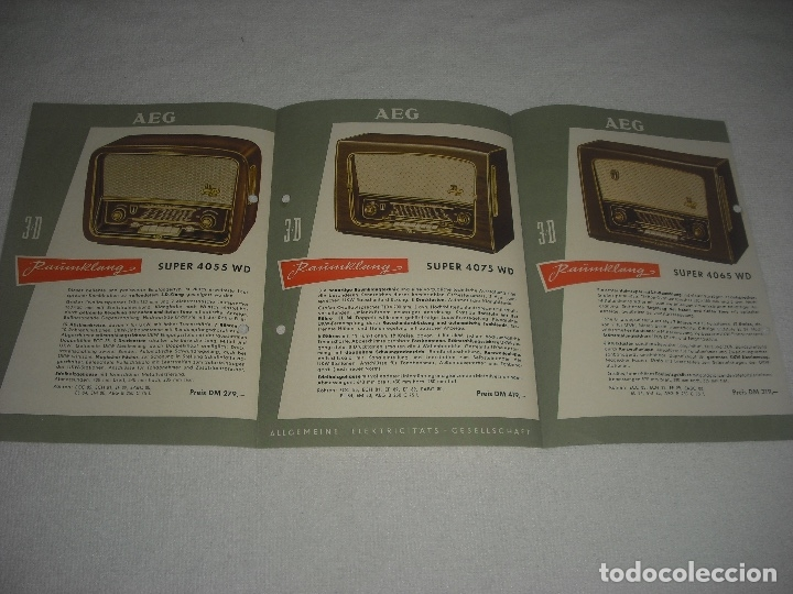 Radios antiguas: AEG RAUMKLANG, PUBLICIDAD DE VARIOS MODELOS DE RADIO 1955/56, EN ALEMAN - Foto 2 - 120689827