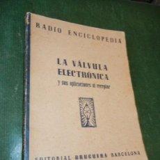 Radios antiguas: RADIO ENCICLOPEDIA Nº 11.- LA VALVULA ELECTRONICA Y SUS APLICACIONES AL RECEPTOR. ED.BRUGUERA 1944. Lote 120837315