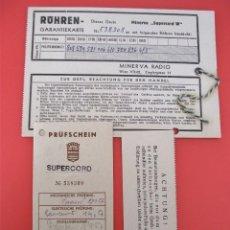 Radios Anciennes: TARJETA DE GARANTIA RADIO MINERVA SUPERCORD W - , VIENA , AUSTRIA . Lote 122869971