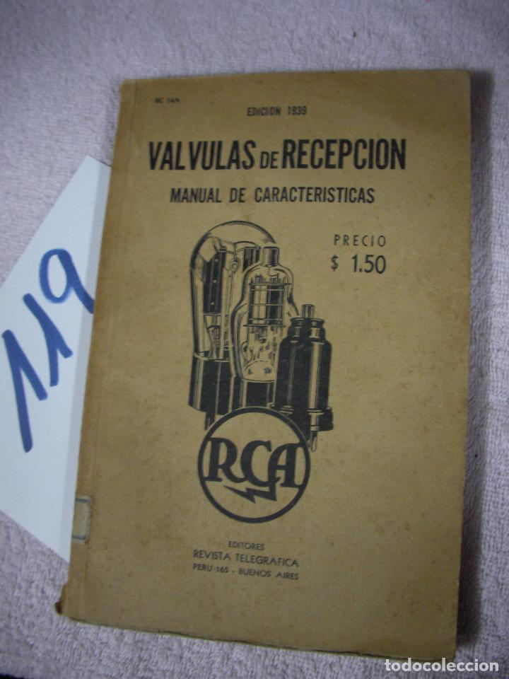 ANTIGUO LIBRO DE RADIO - VALVULAS DE RECEPCION RCA 1939 - MANUAL DE CARACTERISTICAS (Radios, Gramófonos, Grabadoras y Otros - Catálogos, Publicidad y Libros de Radio)