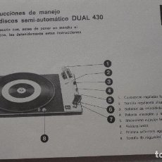 Radios antiguas: FOLLETO INSTRUCCIONES.TOCADISCOS SEMI AUTOMATICO DUAL 430.BETTOR. Lote 130178363