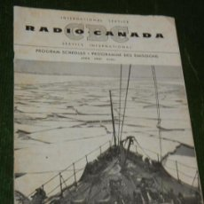 Radios antiguas: PROGRAMA EMISIONES SERVICIO INTERNACIONAL DE RADIO CANADA - ABRIL 1957. Lote 131698706