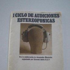 Radios antiguas: CICLO DE AUDICIONES STEREOFONICAS - LLORACH AUDIO 1967 // AUDIOFILOS GARRARD 401 SME 3012 MARANTZ. Lote 133725790