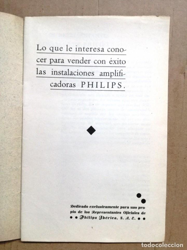 Radios antiguas: LIBRO DE INTALACIONES AMPLIFICADORAS PHILIPS IBERIA.23 PAGINAS. - Foto 2 - 133797218