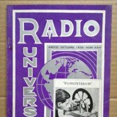 Radios antiguas: RADIO UNIVERSAL. AÑO III. OCTUBRE 1935. Nº XXVI - FONOVISIÓN . Lote 133901866