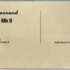 Radios antiguas: GARRARD 80 MK II - CATÁLOGO MANUAL DE INSTRUCCIONES DEL TOCADISCOS - AÑO 1966. Lote 135537466