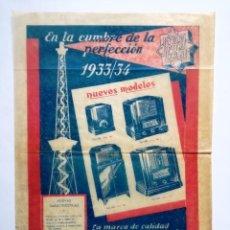 Radios antiguas: PUBLICIDAD TELEFUNKEN AÑO 1933/34.APARATOS DE RADIO. Lote 138602990