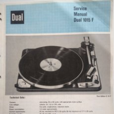 Radios antiguas: DUAL 1015 F. SERVICE MANUAL. EN INGLES.. Lote 138854857