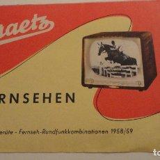 Radios antiguas: ANTIGUO CATALOGO.GRAETZ.FERNSEHEN.TV.TELEVISORES 1958-1959. Lote 141133990