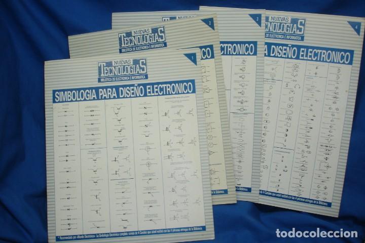 -SIMBOLOGIA PARA DISEÑO ELECTRÓNICO - 4 CARTELES - NUEVAS TECNOLOGÍAS (Radios, Gramófonos, Grabadoras y Otros - Catálogos, Publicidad y Libros de Radio)