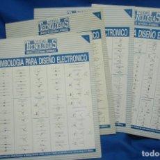 Radios antiguas: SIMBOLOGIA PARA DISEÑO ELECTRÓNICO - 4 CARTELES - NUEVAS TECNOLOGÍAS. Lote 141904922