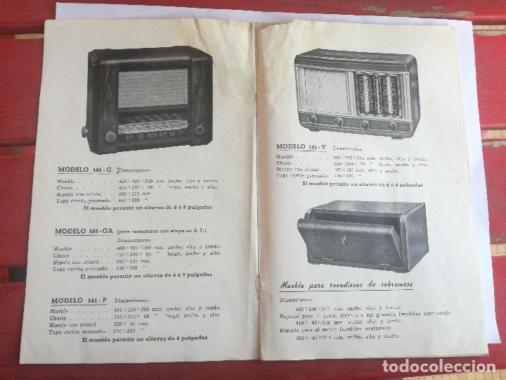 MODELOS DE RECEPTORES Y RADIOGRAMOLAS PARA 1949 ANTIGUA CASA BRUNET - ANTIGUO CATALOGO RADIOS (Radios, Gramófonos, Grabadoras y Otros - Catálogos, Publicidad y Libros de Radio)