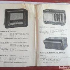 Radios antiguas: MODELOS DE RECEPTORES Y RADIOGRAMOLAS PARA 1949 ANTIGUA CASA BRUNET - ANTIGUO CATALOGO RADIOS. Lote 142701302