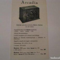 Radios antiguas: FOLLETO DE PUBLICIDAD DE RADIO ARCADIA. AÑOS 30.. Lote 143100902