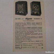 Radios antiguas: FOLLETO DE PUBLICIDAD DE RADIO MAJESTIC DUO CHIEF 44 Y DUO MODERN 49. AÑOS 30.. Lote 143100990