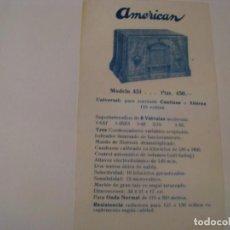 Radios antiguas: FOLLETO DE PUBLICIDAD DE RADIO AMERICAN MODELO 451. AÑOS 30.. Lote 143101126