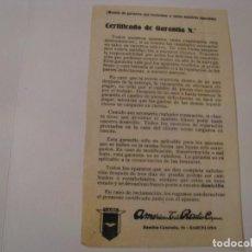 Radios antiguas: FOLLETO DE CERTIFICADO DE GARANTIA DE RADIO AMERICAN.. Lote 143101342