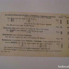 Radios antiguas: FOLLETO DE DATOS TÉCNICOS Y PRECIOS DE ELEVADORES- REDUCTORES ALCER.. Lote 143101454