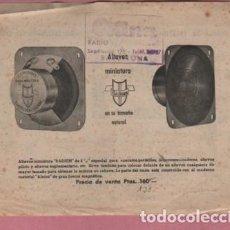 Radios antiguas: HOJA PUBLICIDAD RADIUM - RADIO - BOBINAS ALTAVOZ MINIATURA . Lote 143695098