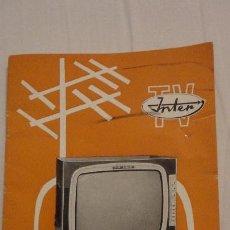 Radios antiguas - ANTIGUO MANUAL MANEJO E INSTALACION.TELEVISOR.INTER.TV-238. - 144399302